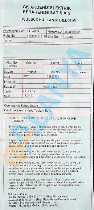 Уведомление о незаконном использовании электроэнергии CLK Akdeniz elektrik