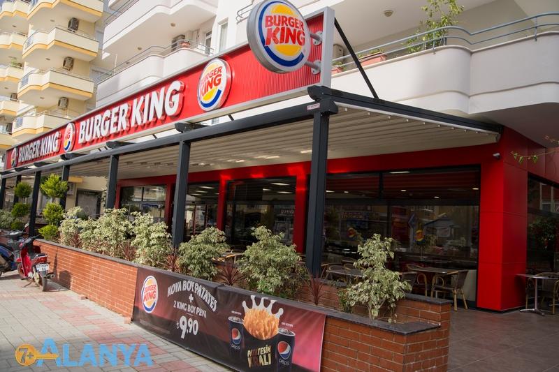 Махмутлар, Турция. Burger king кафе в Махмутларе. Район Махмутлар сегодня.