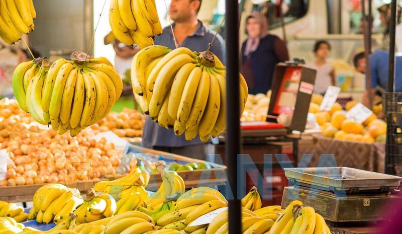 Аланья, Турция. Фото ноябрь. Бананы на рынке в Аланье.