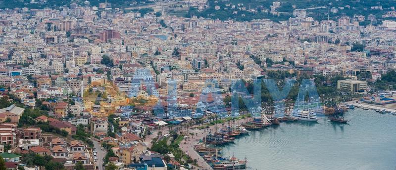 Турция, Аланья. Фото. Средиземное море. Вид на город.